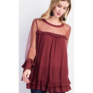 Mesh Sleeve Blouse with Ruffle Detailing